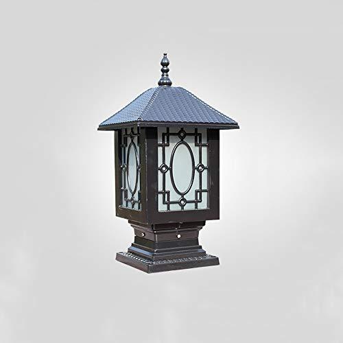 FENGLIAN Traditional Retro Outdoor Pedestal Post Light European IP44 Waterproof Garden Villa Garden Lamp Chinese Vintage Column Lantern Gate Wall Pillar Lamp E27 Landscape Bollard Lighting