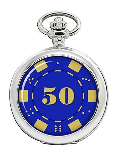 $50 Cincuenta Dólares Poker Chip Reloj Bolsillo Hunter Completo