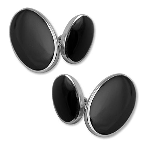Select Gifts Sterling Silber onyx Doppelseitige cufflnks