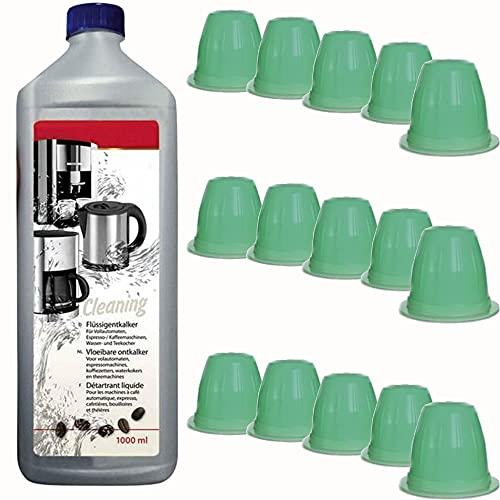 TronicXL Juego de 15 cápsulas de limpieza + 1 L de limpiador líquido Capsule para cafeteras Nespresso, DeLonghi, DeLonghi, Lavazza, Krups, cápsulas de limpieza, máquina de cápsulas, kit de limpieza
