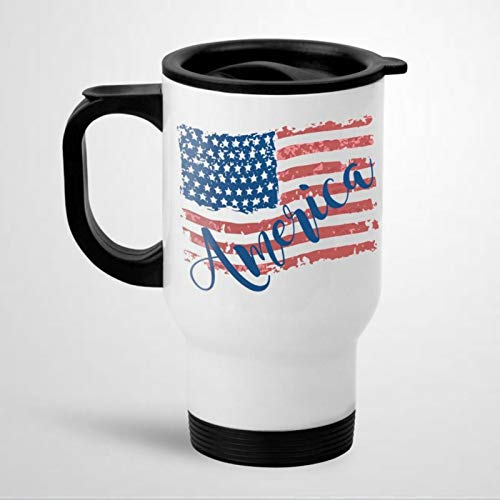 Taza de viaje con asa de la bandera americana, taza de café del 4 de julio, regalo del 4 de julio para él 445 ml, taza de té, regalo de vacaciones