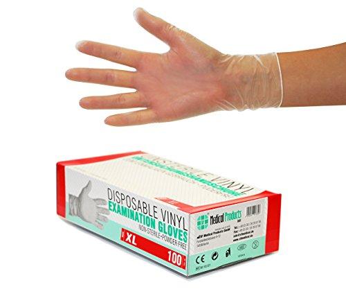 Vinylhandschuhe 1000 Stück 10 Boxen (XL, Transparent) Einweghandschuhe, Einmalhandschuhe, Untersuchungshandschuhe, Vinyl Handschuhe, puderfrei, ohne Latex, unsteril, latexfrei, disposible gloves