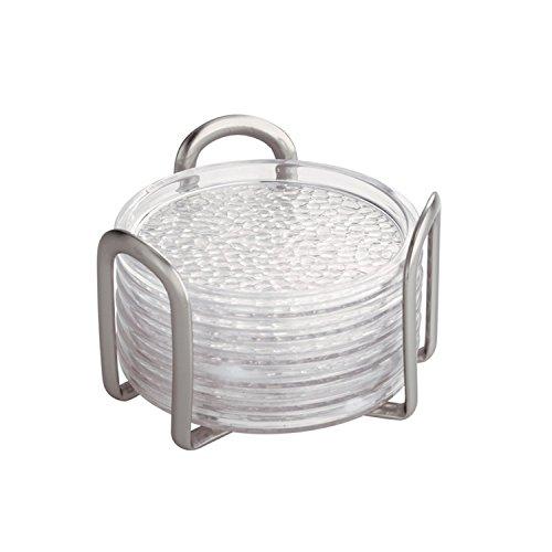 iDesign Set utensili cucina, Set sottobicchieri plastica e acciaio, Pratico ed elegante set da 6 sottotazza da tavola con supporto, trasparente e argento