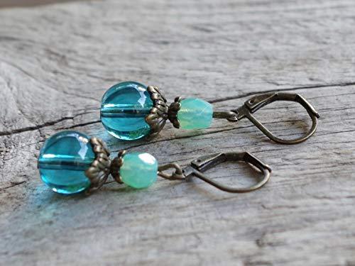 NEU!!! Vintage Ohrringe mit Glasperlen - türkis, aqua, opal & bronze