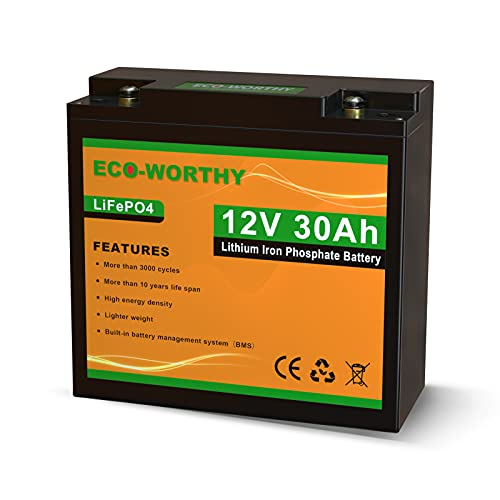 ECO-WORTHY 30Ah 12V Lithium Battery Rechargeable LiFePO4 Lithium Iron Phosphate with over 3000 Times...