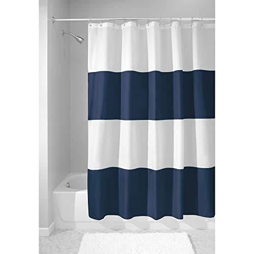 mDesign Duschvorhang mit Streifenmuster - Badzubehör mit idealen Maßen: 183 cm x 183 cm - langlebige Duschgardine - Farbe: Navy blau/weiß