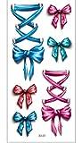Disegni Di Adesivi Per Tatuaggi Temporanei Fiocco Rosso Blu Festival Di Glitter Rimovibile Semipermanente Impermeabile Per Bambini Donna Body Art 19x9cm 10pcs