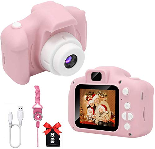 DDGG Kids Camera, Kids Digital Camera with 2 Inch IPS Screen and 32GB SD Card,1080P FHD Children Camera, Toddler Camera for 4-10 Years Boys Girls Gift(Pink)