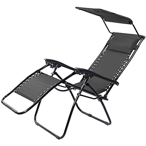 ZDYLM-Y Chaise Longue inclinable, Chaise Longue Pliable et réglable avec auvent d'ombre, pour la Piscine et Le Jardin,Noir