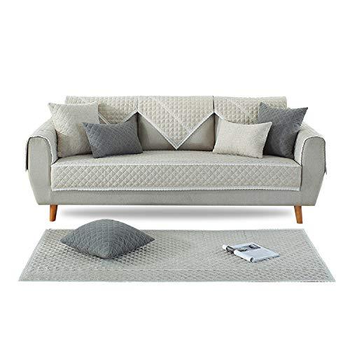 PETCUTE Sofabezug rutschfeste Sofahusse Sofabezüge Sofaüberwurf Sofa Schutz Abdeckung Gesteppte sofabezüge für ecksofa Beige 110X110cm