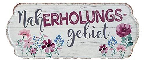 G.H. Vintage Retro Blechschild, Modell, NAHERHOLUNGSGEBIET, Material Metall, Maße 35 x 15 cm, Weiss, rot, ideal für Garten, Terrasse, Bar, Cafe, Cafeteria oder einfach Zuhause.