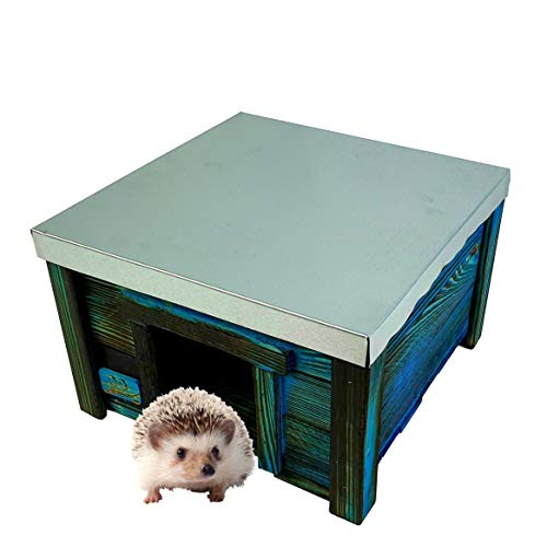 BLINIAKI - Casetta per ricci in legno, 30 x 30 x 20 cm, tetto in lamiera, pavimento in legno, resistente alle intemperie, per ricci e ricci, in legno, per il giardino HDJ5 opale NB