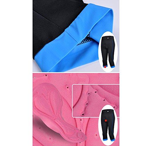 GWELL Damen Fahrradhose Radlerhose mit Sitzpolster Radhose 3/4 Komfort Slim Fit blau 2XL - 2