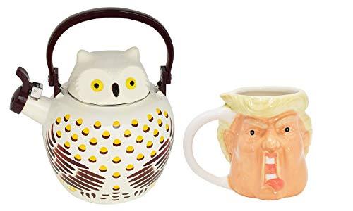 HOME-X Owl Whistling Tea Kettle & Donald Trump Ceramic Mug