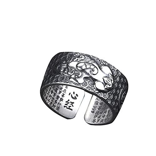 LYEC3 Anillo Retro Feng Shui PiXiu, Anillo de Mantra Budista de la Suerte de Plata, Amuleto Ajustable, protección, Personalidad, Riqueza, joyería para Hombres y Mujeres