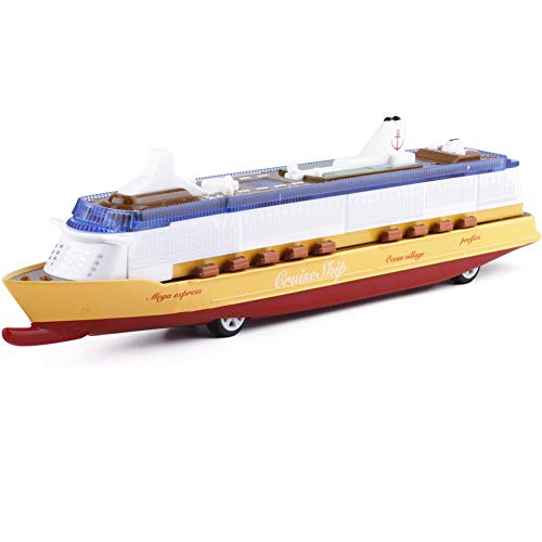 Forart Children Music Ocean Liner Flashing LED Lights Sound Electric Cruises Simulation Boat Toy Model - Miniature Cruise Liner Die Cast Cruise Ship Centerpiece Toys