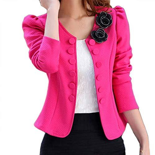 HOSD Mujeres Primavera Otoño Moda Blazer Tallas Grandes de Manga Larga Casual Trajes de Mujer Encantadora Flor Outwear Abrigo de Oficina