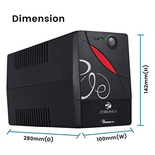 ZEBRONICS Zeb-U725 600VA UPS for Desktop/PC/Computers (not for Routers) with Automatic Voltage Regulation, Black