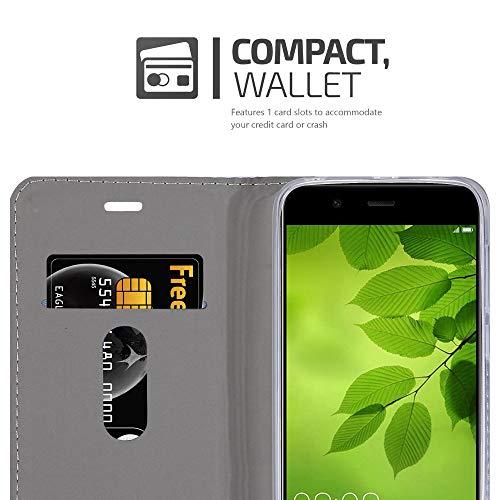 Cadorabo Hülle für Huawei NOVA 2 - Hülle in HELL GRAU BRAUN – Handyhülle mit Standfunktion und Kartenfach im Stoff Design - Case Cover Schutzhülle Etui Tasche Book - 3