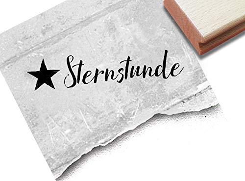 Stempel Textstempel Sternstunde mit Stern - Schriftstempel Karten Einladung Gutschein Fotobuch Scrapbook Artjournal Deko - zAcheR-fineT