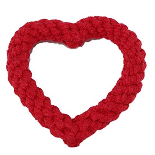Da. WA pour animal domestique Chien Chiot tressé Coton Corde Jouets à mâcher noués Tied Toys (Rouge)