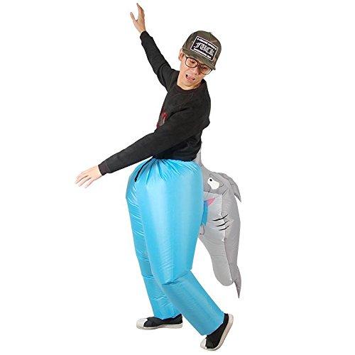 FYBR Bijten Haai Opblaasbare Kostuum Halloween Nieuwe Kostuum voor Kinderen en volwassenen Opblaasbare Kostuum Party Jurk Kostuums Blauw