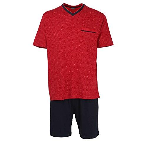 Herren Schlafanzug Kurz Shorty aus 100% natürlicher Baumwolle (52, Chili Pepper)