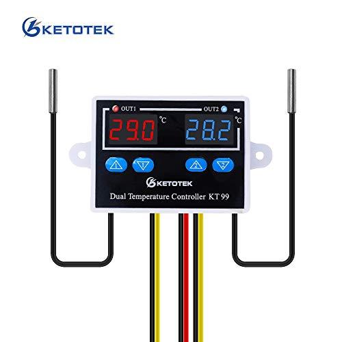 KETOTEK Temperaturregler mit 2 fühler AC 230V 220V Digitaler Temperaturschalter Dual Thermostatregler Heizung Kühlung Temperatursteuerung Doppelausgang Direkt