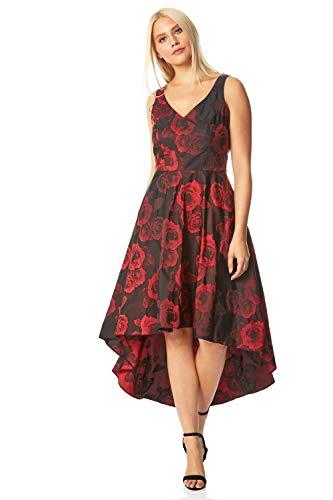 Roman Originals Damen Kleid mit Zipfelsaum und Rosenmuster - Damen Kleider mit V-Ausschnitt für Weihnachtspartys abends Ballkleid besondere Anlässe Hochzeiten Pferderennen - Rot - Größe 40