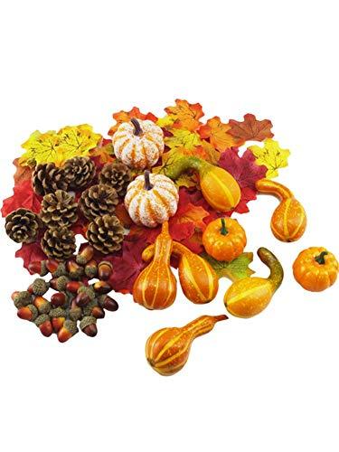 N/K Thanksgiving Artificial Pumpkins Home Decoration Set, Mixture of 166 Artificial Harvest Decoration, 100 Silk Maple Leaf + 48 Fake Acorns + 8 Fake Pinecones + 4 Fake Pumpkins + 6 Bottle Gourd