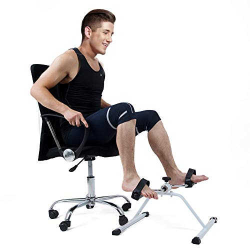 QueenHome – Bicicleta estática, Under Desk Bike Pedal Exerciser, marco de metal, Pedal Exerciser Muskeltraining completamente zusammengebautes Arms Legs Trainer