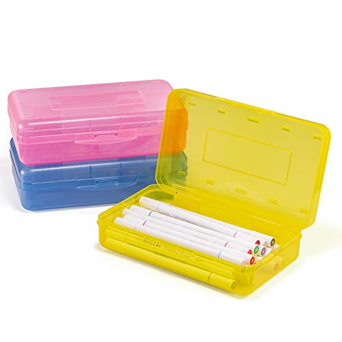Sooez 3 Pack Pencil Box, Plastic Large Capacity Pencil Case Boxes Organizer Plastic Boxes with Snap-tight Lid, Stackable Design and Stylish Colors in Pink, Yellow and Blue