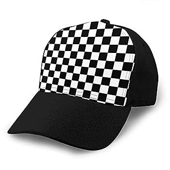 Black White Checkerboard Sports Fashion Baseball Cap for Men Women Classic Casual Dad Hat Adjustable Unisex