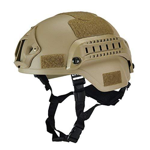 ASOSMOS Militär Taktisch Helm Airsoft Gear Paintball Kopf Schutz mit Nachtsicht Sport Kamera Halterung - Wüste