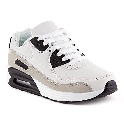 FiveSix Herren Damen Sportschuhe Dämpfung Sneaker Laufschuhe Schwarz/Grau/Weiss-M EU 45