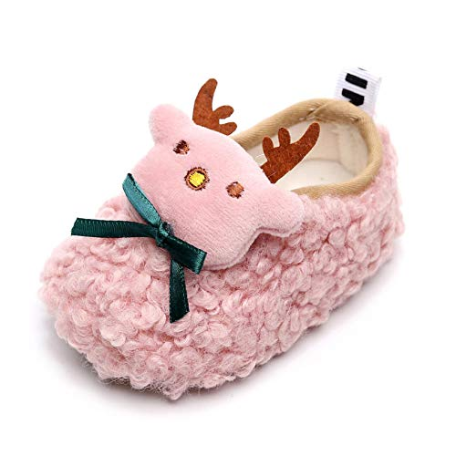 OutTop01 Infant Baby Christmas Doll Shoes Cute Sock Shoes Warm Fleece Non Slip Prewalker Floor Slipper for Boys Girls (Pink, 3-6Months)