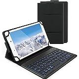 Jelly Comb Beleuchtete Tastatur Hülle für Allen 7-8 Zoll Tablet, Bluetooth Wiederaufladbare Funktastatur mit Schützhülle für Android/Windows Tablets, iPad, QWERTZ Deutsches Layout, Rosa Gold