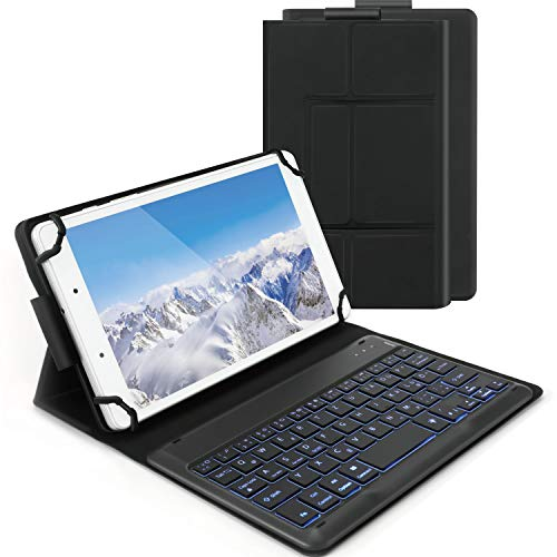 Bluetooth Backlit Keyboard Case for 7-8 Inch Samsung Galaxy Tabs/Lenovo Tabs/Android Tablets, Jelly Comb Wireless Detachable Keyboard with Protective Cover for Android/Windows/iOS Tablets, Black