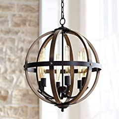 "21"" wide x 24 1/2"" high. Canopy is 5"" wide. Weighs 15 lbs. Comes with 6-feet of chain and 12-feet of wire. Sloped ceiling adaptable. Includes six 6 watt LED T10 vintage style Edison tube bulbs. Maximum 60 watt bulbs. An industrial, rustic farmhouse l..."