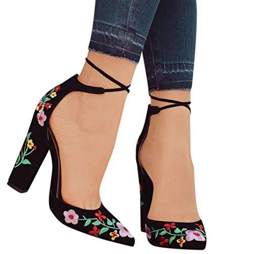 Elecenty scarpa da donna Ricamo di donne wildflower con scarpe a punta alta con tacco alto a punta