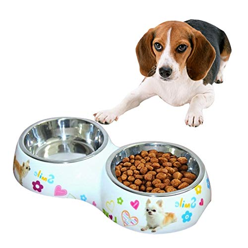 Pet Food Bowl Edelstahl Wasserdicht Abnehmbare Doppel Bowls Druck Cartoon-Muster Katzen und Hunde Fressnäpfe, Größe: L, 30,5 * 16 * 5,5 cm Asun