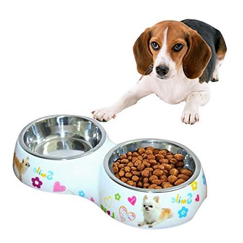 Tuzi Qiuge Pet Food Bowl, Hundekatze Schüssel, Doppelschale Katze Kleiner und mittlerer Hund Automatischer Waterer Pet Supplies