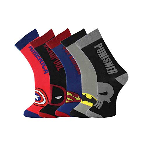 TTD Hombres 5 paquetes Hip Hop divertidos calcetines novedosos serie de superhéroes Batman Superman Deadpool Punisher Crazy Cool Socks