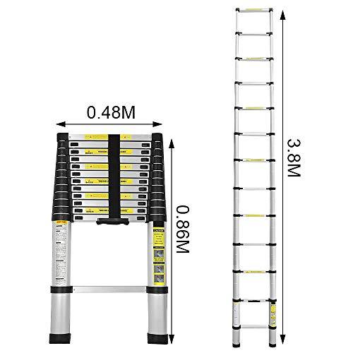 YOLEO Échelle Télescopique Pliante 3.8M , Échelle Escabeau Télescopique en Aluminium 12 Echelons, Charge Max 150 kg