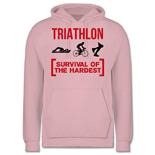 Sonstige Sportarten - Triathlon - Survival of The Hardest - XS - Hellrosa - JH001 - Herren Hoodie und Kapuzenpullover für Männer