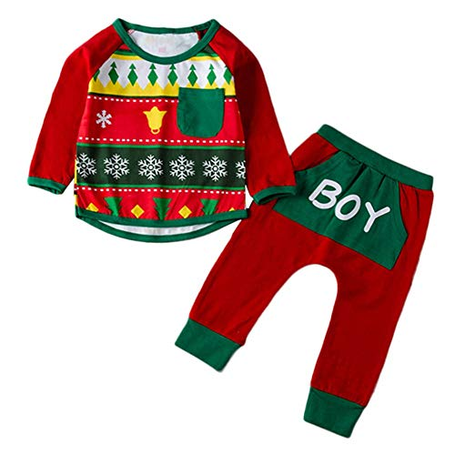 Pochers Pochers Kinder Baby Jungen Weihnachten Print T-Shirt Tops + Brief Hosen Hosen Outfits Set