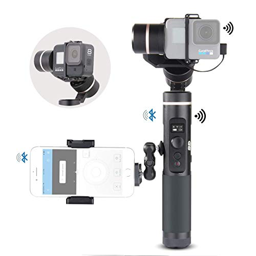 Feiyu G6 Kit 3-Axis Action Camera Gimbal Stabilizer for GoPro Hero 8 Hero 7, Splash Proof Selfie Stick Gimbal for Go pro Hero 6 5 Yi cam 4K, with MiniTripod Phone Clip Hero 8 Adapter Kit