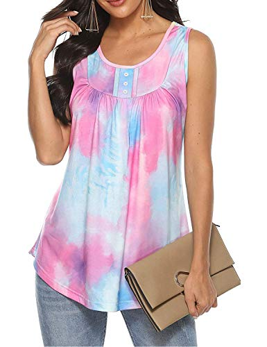 Luranee Plus Size Tunic Tops for Women, Ladies Sleeveless Loose Fitting Tie Dye Shirts Casual Fashion 2021 Pleated Tank Tops Cotton Soft Maternity Clothes Work Buinese Boho Outdoor Blouses 2XL