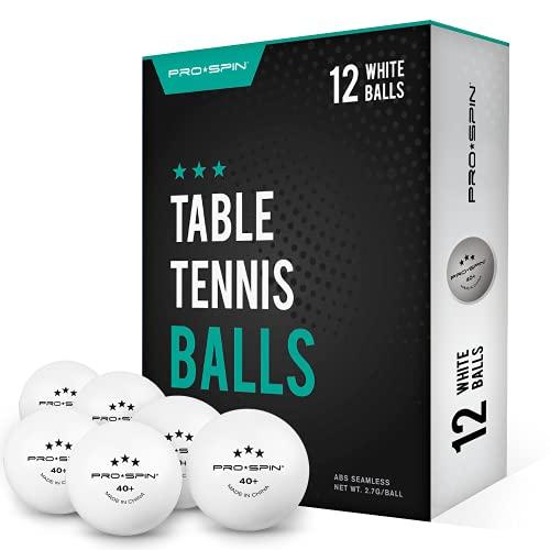 Pro Spin Pelotas de Ping Pong - Blanco - Pelotas 3-Estrellas 40+ (Pack de 12) para Tenis de Mesa | Pelotas ABS de Alto Rendimiento y Durabilidad para Mesa de Ping Pong Interior Exterior, Competición