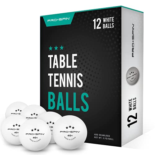 PRO SPIN Ping Pong Balls - White 3-Star 40+ Table Tennis Balls (Pack of 12) | High-Performance ABS...